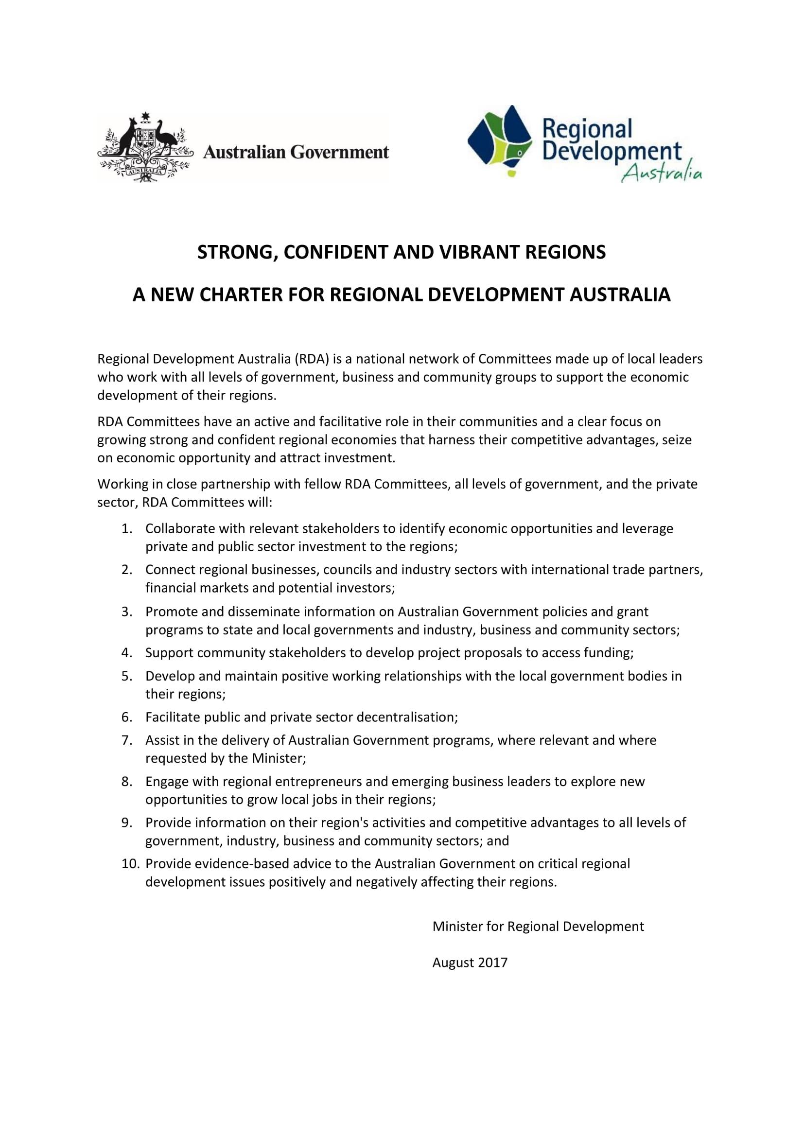 Regional Development Australia Charter
